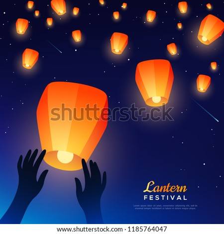Hands releasing lanterns into night sky. Vector illustration. Traditional background for Chinese New Year or Mid Autumn Festival greeting cards.