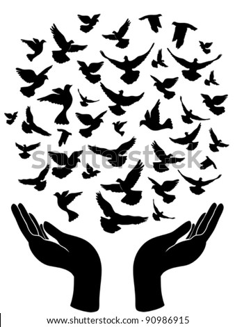 hands releasing peace pigeon - stock vector