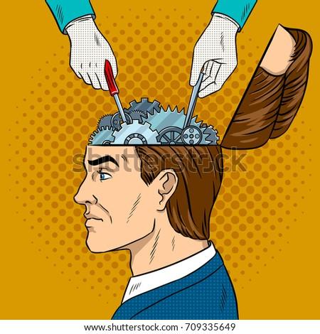 hands repairs gears in head pop