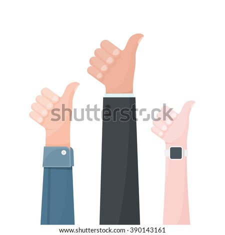 Hands show thumbs up.