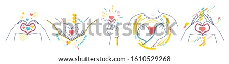 """Hands showing gestures """"I love you"""". Concept of love. Flat / line style with colorful small geometric particles and dots. Set elements isolated on white background."""