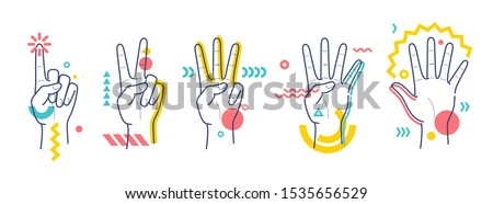hands showing numbers one  two