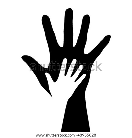 Hands silhouette. Illustration on white background. - stock vector