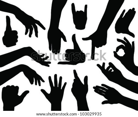 Hands silhouettes 2-vector