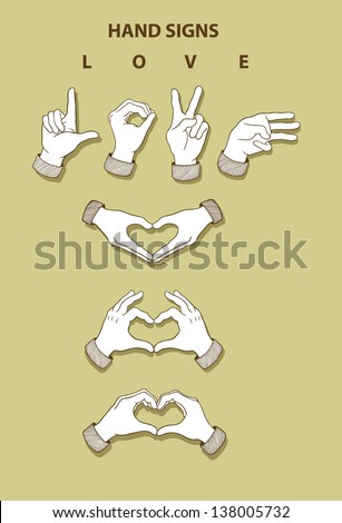 Hands sketch 3. Love and heart hand signs. Vintage hand drawn vector, use for any design you want. Easy to use, because each object is a group