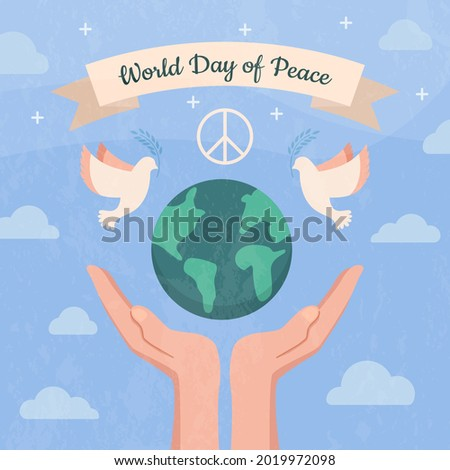 Hands support the planet earth, take care of it with the inscription world day of peace. International Day of Peace, traditionally celebrated annually. Peace in the world concept, nonviolence vector