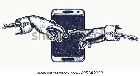 Hands tattoo and t-shirt design. Human hands touching with fingers. Symbol Internet of dependence, social networks, modern consumer society. Dependence on mobile phone