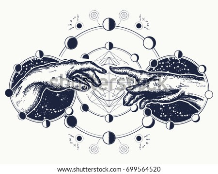 Hands tattoo Renaissance. Gods and Adam, symbol of spirituality, religion, connection and interaction.  Michelangelo God's touch. Human hands touching with fingers tattoo and t-shirt design