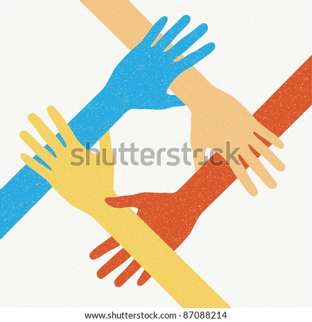Hands teamwork. Connecting concept. Vector illustration