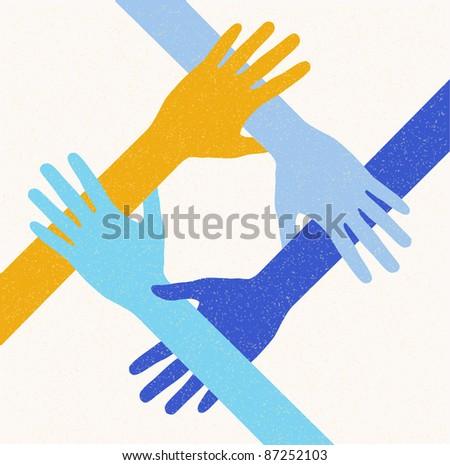 hands teamwork.  connecting concept. Vector illustration