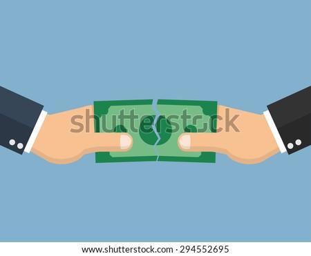 hands tearing apart a money