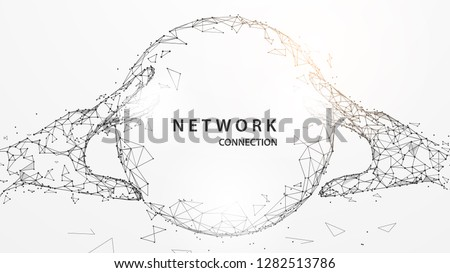 Hands touching digital global form lines, triangles and particle style design. Illustration vector