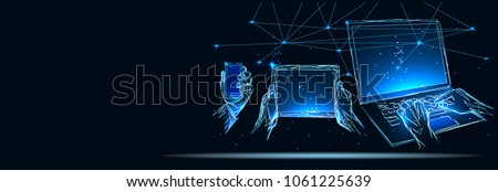 Hands touching tablet pc, smart phone and laptop, social media concept. Low poly vector illustration. Business and technology concept