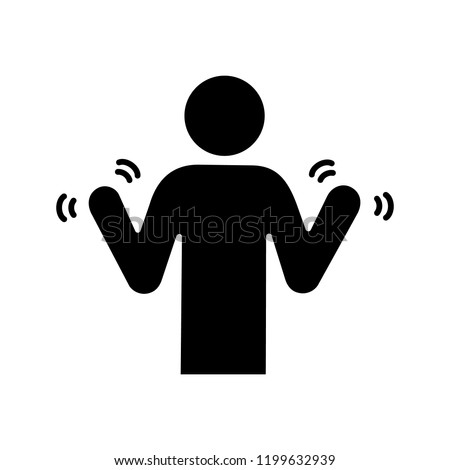 Hands tremor glyph icon. Parkinson's disease. Shaky hands. Anxiety tremor. Muscle twitching. Trembling. Physiological stress symptoms. Silhouette symbol. Negative space. Vector isolated illustration