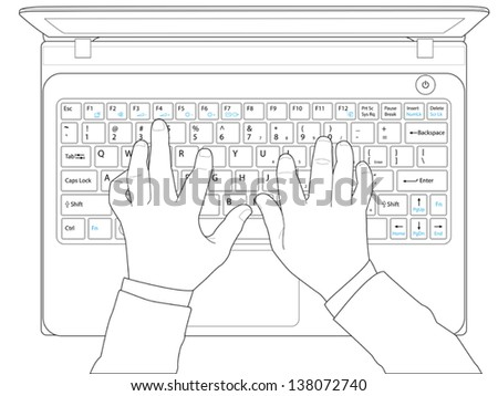 Hands typing on keyboard computer laptop,vector