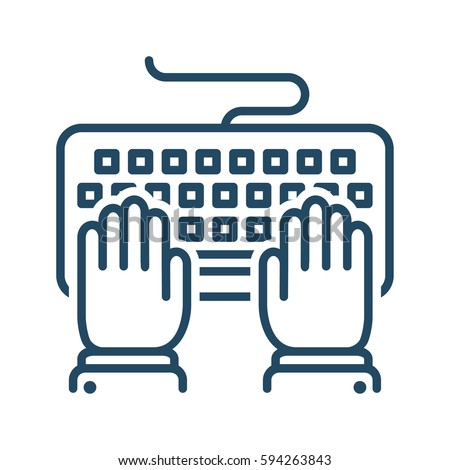 hands typing on keyboard vector ...