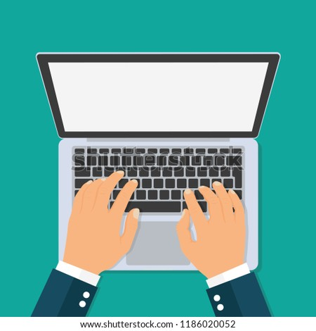 Hands typing text on the laptop keyboard. Top view - stock vector.