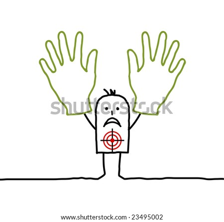 hands up ! - stock vector