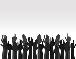 Hands up Colors, Voting hand Raised up, Election concept. Arms in the top. Vector
