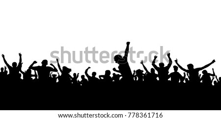 Hands up fans. Crowd of people silhouette. Sports banner