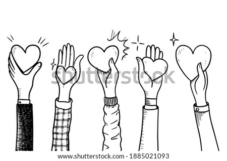 hands up,Hands clapping with love. Give and share your love to people. Concept of charity and donation. doodle vector illustration