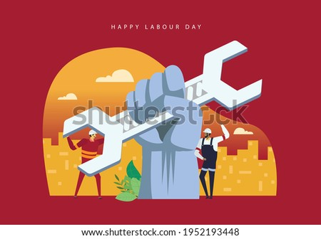 Hands Up Labour Day Concept Illustration Background. Labour Day is an annual holiday to celebrate the achievements of workers.
