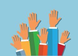 hands up on blue background vector illustration. flat design