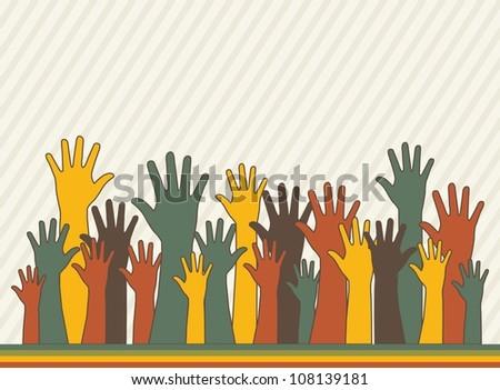 hands up over stripes background, vintege. vector illustration