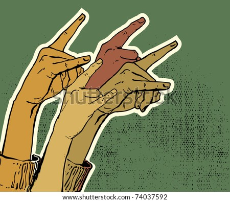 hands up showing rock sign