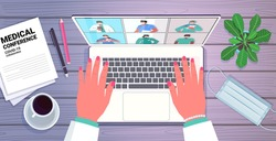 hands using laptop doctor discussing with mix race colleagues on screen doctors having medical conference medicine healthcare online communication concept horizontal portrait vector illustration