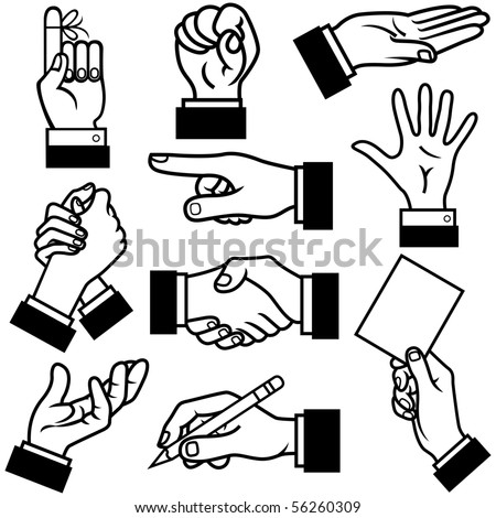 Hands vector illustration in different poses.
