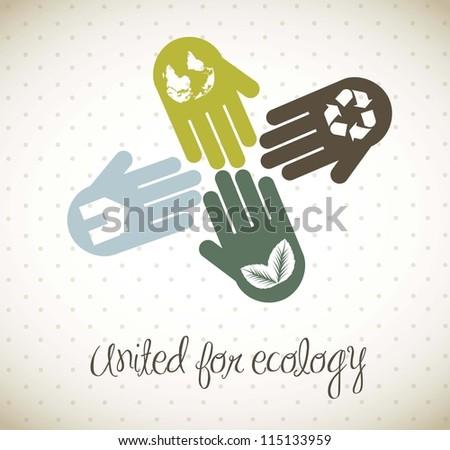 hands vintage concept, united for ecology. vector illustration