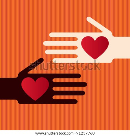 Hands whit hearts - stock vector