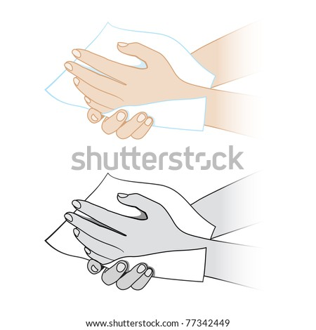 Hands with a napkin. Illustration on white background