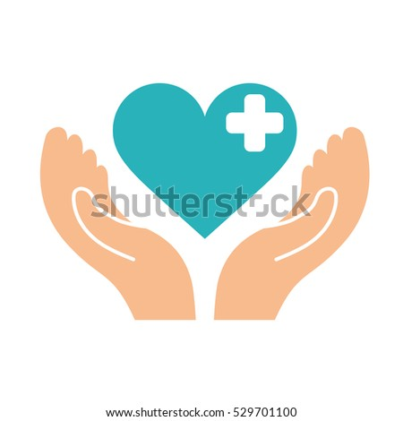 hands with blue medical heart with cross over white background. colorful design. vector illustration