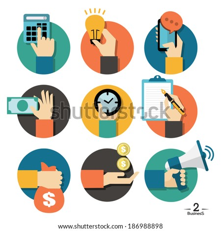 Hands with business object icons set, Flat Design Vector illustration