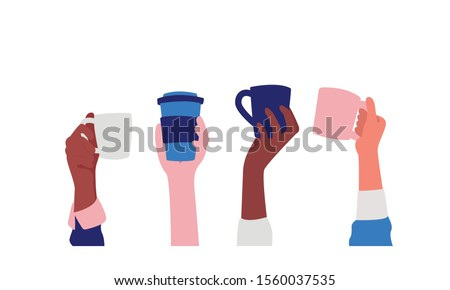 Hands with coffee cups vector illustration. Diverse female hand holding different coffee cups and mugs. Friendship, sisterhood, caffeine concept. Isolated on white.