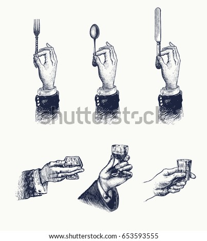 Hands with cutleries, alcohol drink. Spoon, fork and knife. Glass, shot, wineglass with potables Vintage stylized drawing. Vector illustration in a retro woodcut style