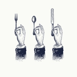 Hands with cutleries. Spoon, fork and knife. Vintage stylized drawing. Vector illustration in a retro woodcut style