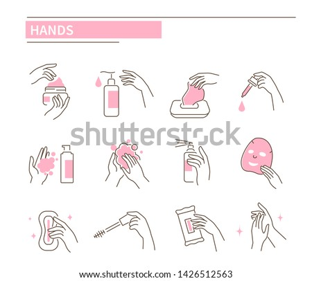 Hands with different cosmetic products. Line style vector illustration isolated on white background.