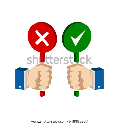 Hands with false and true signs. Flat Isometric Icon or Logo. 3D Style Pictogram for Web Design, UI, Mobile App, Infographic. Vector Illustration on white background.