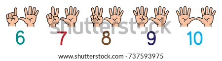 Hands with fingers.Icon set for counting education Foto stock ©