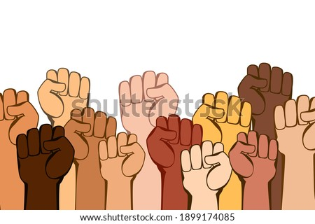 Hands with fists are a symbol of protest and struggle. A movement or party of people fighting for their rights on white. Justice, independence, anti-racism, discrimination, anti-terror, peace, freedom