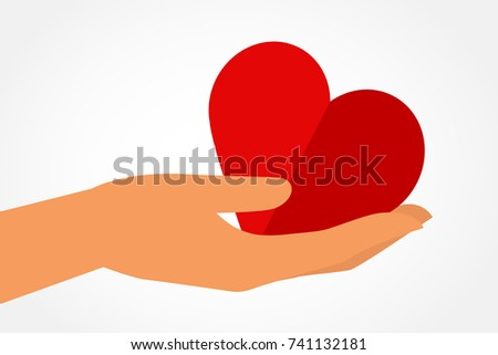 Hands with heart icon. Vector illustration