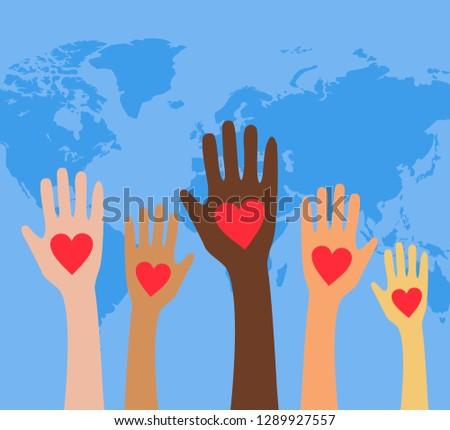Hands with hearts. Raised hands volunteering,vector concept.