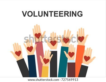 Hands with hearts. Raised hands volunteering vector concept
