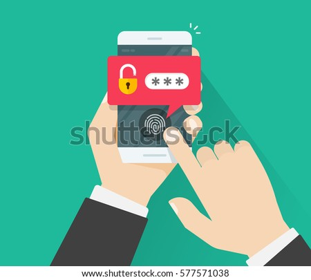 Hands with mobile phone unlocked with fingerprint button and password notification vector, concept of smartphone security, personal access via finger, user authorization, login, protection technology