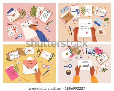 Hands with postcards and letters. Envelopes, postcards and letters top view, girls write, send and read letter. Mail sending hand-drawn vector illustration set. Girls arms with objects on table