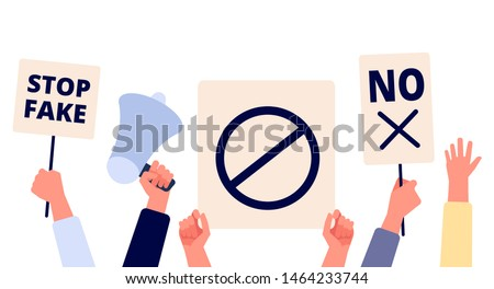 Hands with protests placards. People holding political banners, activists with strike manifestation signs. Human right vector concept. Illustration revolution manifestation, protest demonstration