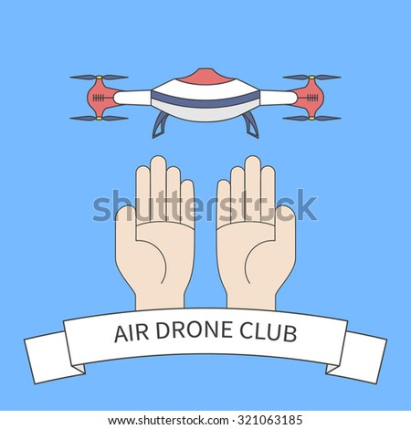 hands with quadcopter and